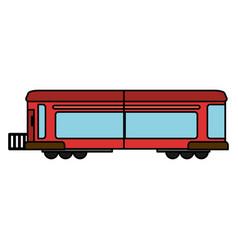 Cartoon red train wagon rail vector