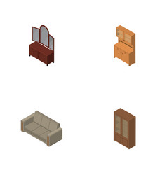 Isometric furniture set of cupboard couch drawer vector