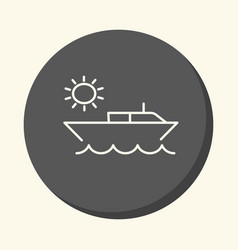 Boat in the ocean and the sun a round line icon vector
