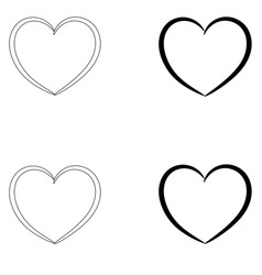heart the black and grey color set icon vector image vector image