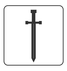 Medieval sword icon silhouette isolated vector image