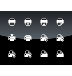 Printer icons on black background vector image vector image