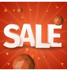 Sale text with triangle sphere on red background vector image vector image
