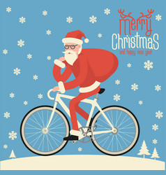 santa riding bicycle vector image