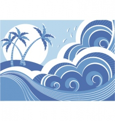 seascape and island vector image