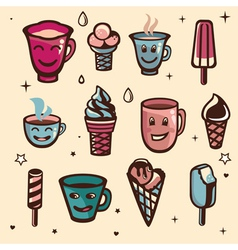 set with ice cream and cups vector image