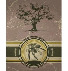 Vintage olive tree label vector
