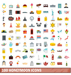 100 honeymoon icons set flat style vector