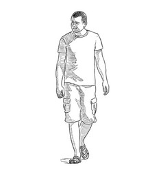 a casual townsman strolling in a sunny summer day vector image