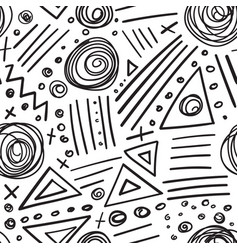 Abstract marker black lines seamless pattern vector