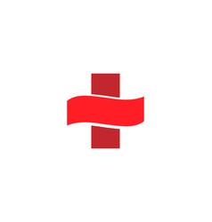 abstract medical cross logo design template vector image