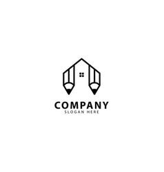Abstract pencil and home logo design icon vector