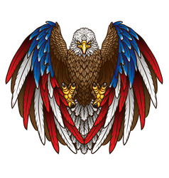 An eagle with american flag vector