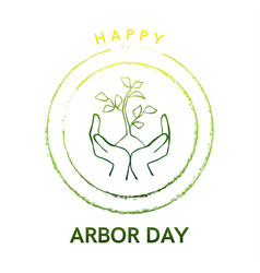 Arbor day logo with tree and hands vector
