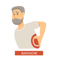 Backache symptom concept with old person touching vector