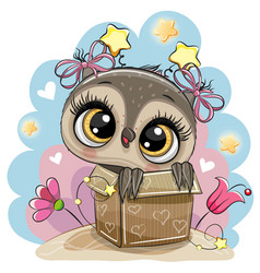 Birthday card with cartoon owl girl and a box vector