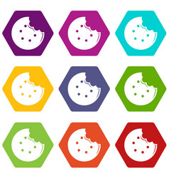 Bite biscuits icons set 9 vector