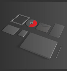 Blank Corporate Set isolated on black mock up vector image