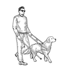 Blind man and guide dog sketch vector