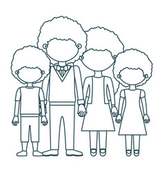 Blue contour faceless curly hair family group in vector