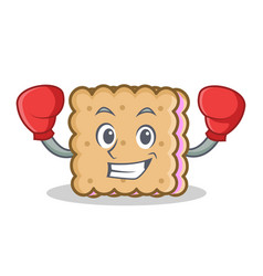 boxing biscuit cartoon character style vector image