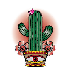 cactus tattoo old school vector image