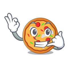 call me pizza mascot cartoon style vector image