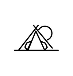 camping tent sun tourism travel thick line vector image