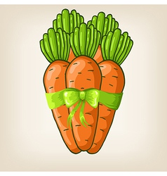carrots with cute green bow vector image