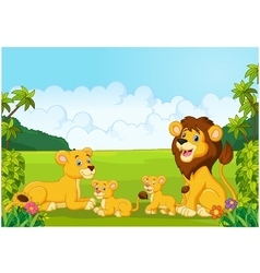 Cartoon lion family vector