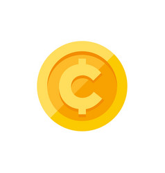 Cent centavo currency symbol on gold coin flat vector