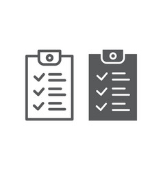 checklist line and glyph icon document and form vector image