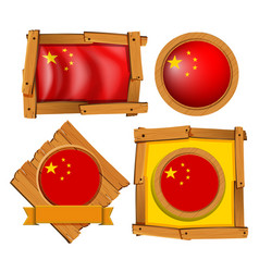 China flag in different frame designs vector