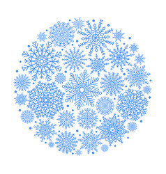 Christmas ball created from blue snowflakes icon vector