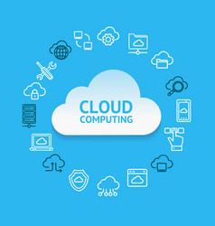 cloud computing round design template contour vector image