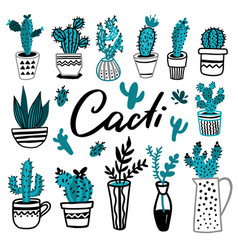 collection cactus hand drawn set vector image