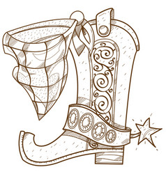 Cowboy boot logo wild west outline drawing vector