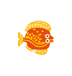 Cute flounder fish hand drawn vector