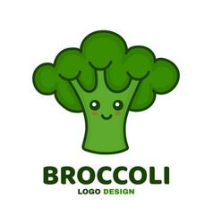 cute smiling happy broccoli vector image