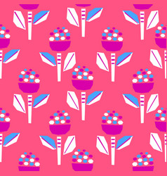 cutout bold bright pink flower seamless pattern vector image