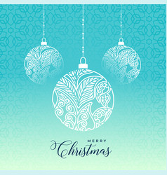 decorative merry christmas ball on blue background vector image