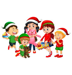 Different children wearing costume in christmas vector