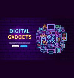 digital gadgets neon banner design vector image