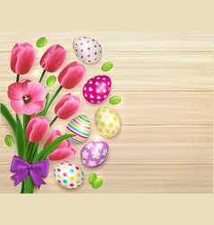 easter flowers wooden background vector image