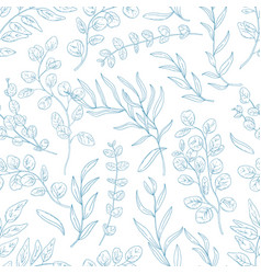 Eucalyptus twigs hand drawn seamless pattern vector