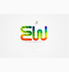 Ew e w rainbow colored alphabet letter logo vector