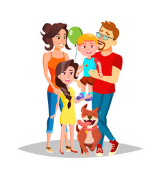 Family portrait dad mother kids in vector