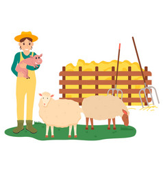 Farming woman holding pig sheep farm vector