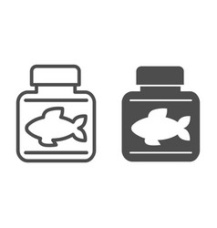 Fish oil line and glyph icon bottle with fish oil vector