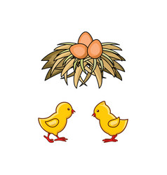 Flat hand drawn yellow chick egg in nest vector